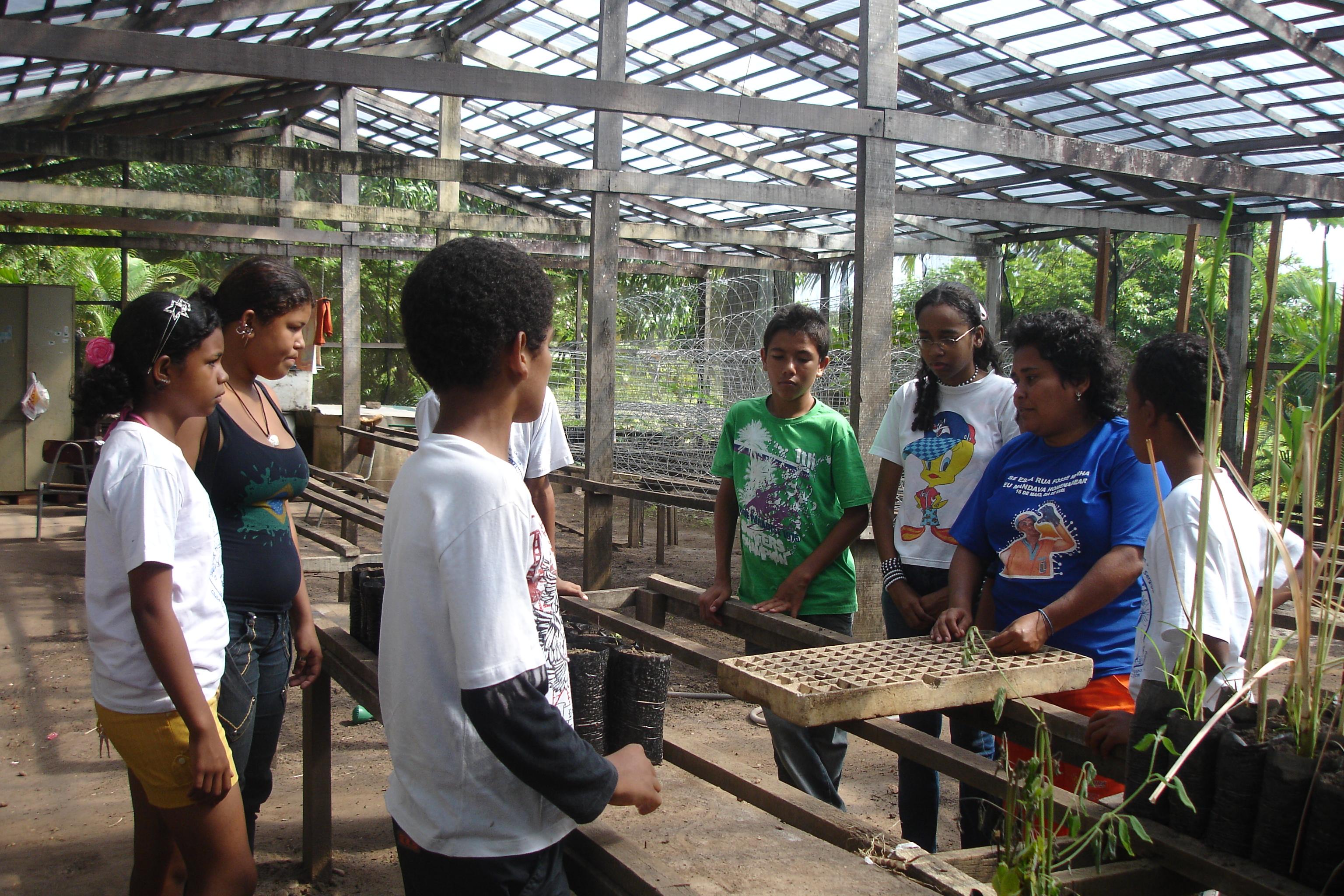 Alunos do Clube de Ciências visitam o horto do Parque da Sementeira